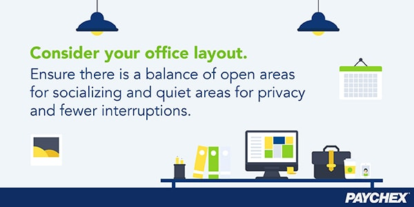 Office layout for socializing and privacy