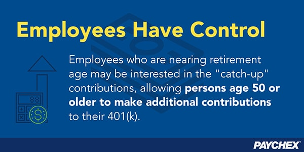 Catch-up contributions let people age 50 or older to make additional contributions to their 401(k) plan.