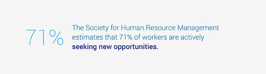 The Society for Human Resource Management estimates that 71% of workers are actively seeking new opportunities.