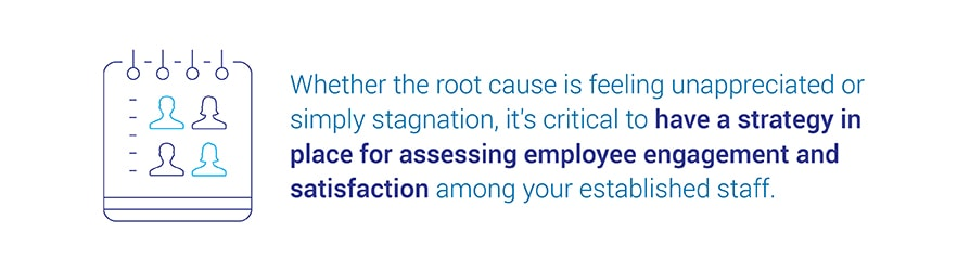 Whether the root cause is feeling unappreciated or simply stagnation,   it's critical to have a strategy in place for assessing employee engagement and satisfaction among your established staff.
