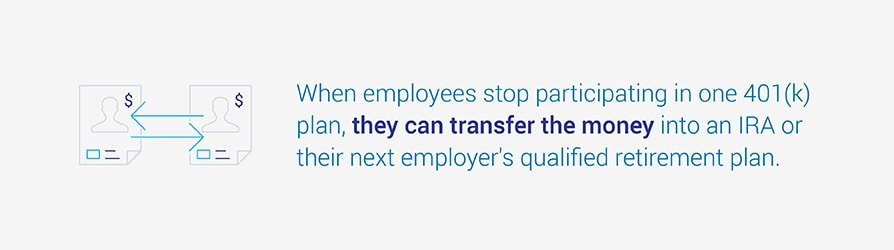 When employees stop participating in one 401k plan, they can transfer the money into an IRA or their next employer's qualified retirement plan.