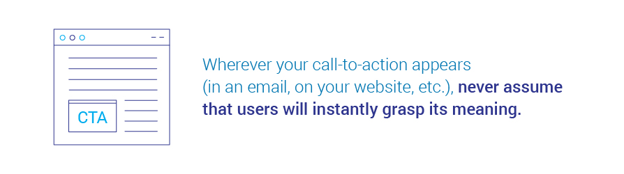 Wherever your call-to-action appears, in an email, on your website, etc., never   assume that users will instantly grasp its meaning.