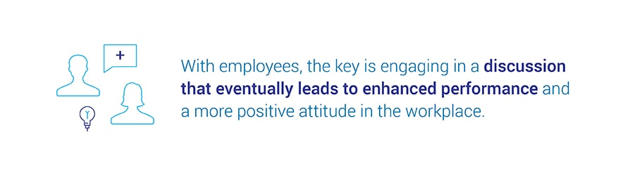 With employees, the key is engaging in a discussion that eventually leads   to enhanced performance and a more positive attitude in the workplace.