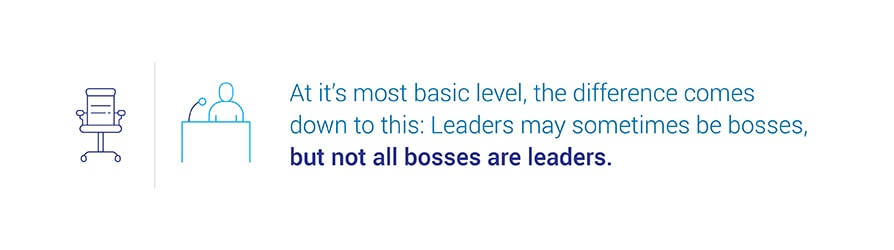 At its most basic level, the difference comes down to this: Leaders may sometimes be bosses, but not all bosses are leaders.