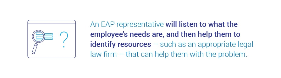 An EAP representative will listen to what the employee's needs are, and then help them to identify resources – such as an appropriate legal law firm – that can help them with the problem.