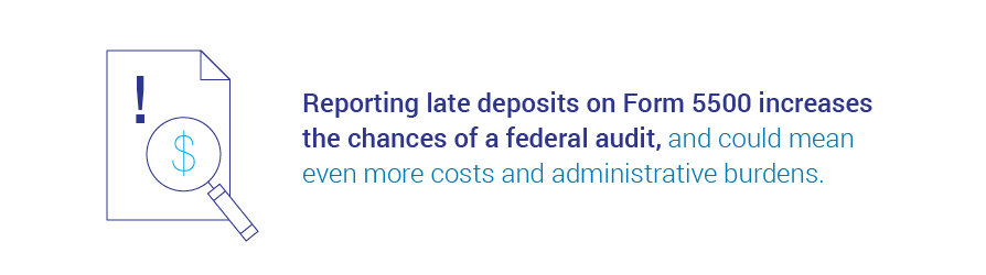 Reporting late deposits on Form 5500 increases chance of federal audit