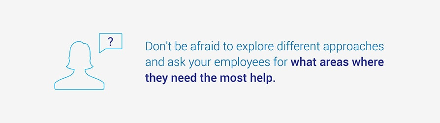 Don't be afraid to explore different approaches and ask your employees for what areas where   they need the most help.