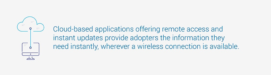 Cloud-based applications offering remote access and instant updates provide adopters the information they need instantly, wherever a wireless connection is available.
