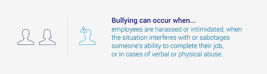 Bullying can occur when employees are harassed or intimidated, when the situation interferes with or sabotages someone's ability to complete their job, on in cases of verbal physical abuse.