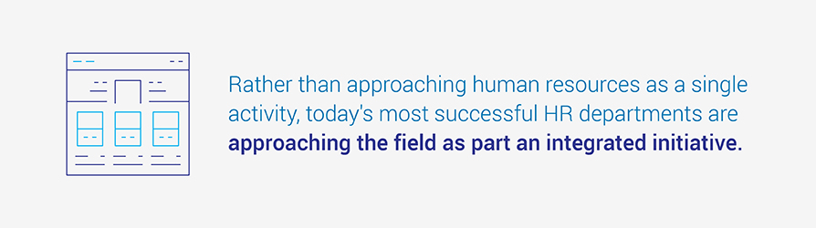 Rather than approaching human resources as a single activity, today's most successful HR departments are approaching the field as part an integrated initiative.