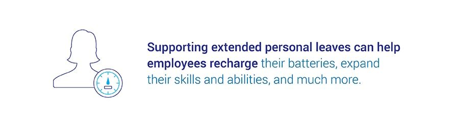 Supporting extended personal leaves can help employees recharge their   batteries, expand their skills and abilities, and much more.