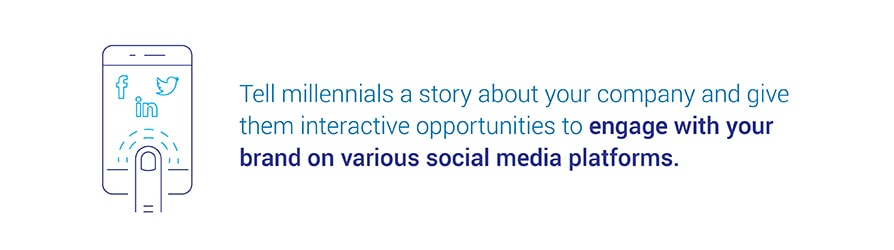 Tell millennials a story about your company and give them interactive opportunities to   engage with your brand on various social media platforms.