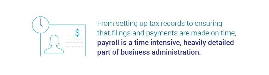 From setting up tax records to ensuring that filings and payments   are made on time, payroll is a time intensive, heavily detailed part of business administration.