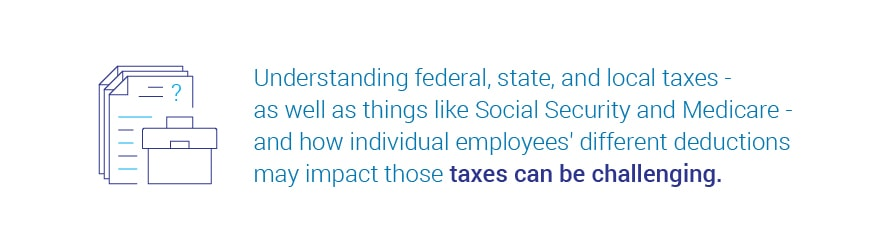 Understanding federal, state, and local taxes – as well as things   like Social Security and Medicare – and how individual employees' different deductions may impact those taxes can be challenging.