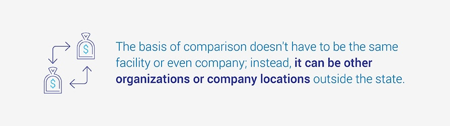 The basis of comparison doesn't have to be the same facility or even company; instead, it can be other organizations or company locations outside the state.