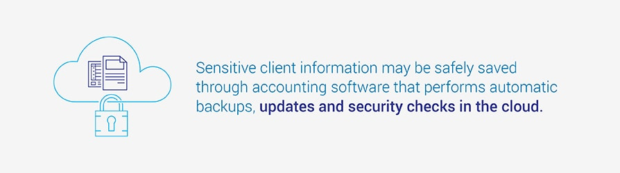 Sensitive client information may be safely saved through accounting software that  performs automatic backups, updates and security checks in the cloud.