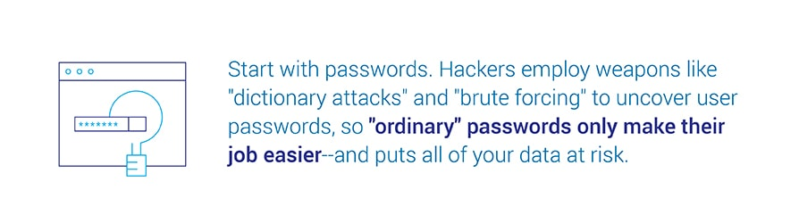 Start with passwords. Hackers employ weapons like dictionary attacks and brute forcing to uncover user passwords, so ordinary passwords only make their job easier and puts all of your data at risk.