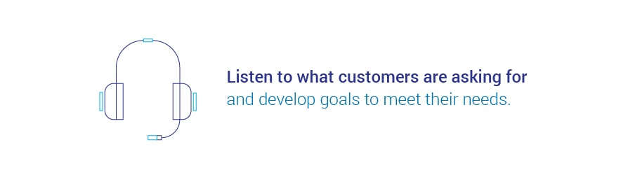 Listen to what customers are asking for and develop goals to meet their needs.
