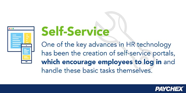 Self-service portals encourage employees to log in and handle basic tasks themselves.