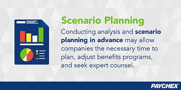 Conducting analysis and scenario planning in advance may allow time to plan, adjust benefits programs, and seek counsel.