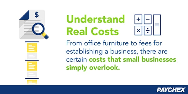 Small businesses overlook certain costs, such as business fees and office furniture.