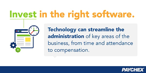 Technology can streamline the administration of key areas of the business, so it's important to invest in the right software.