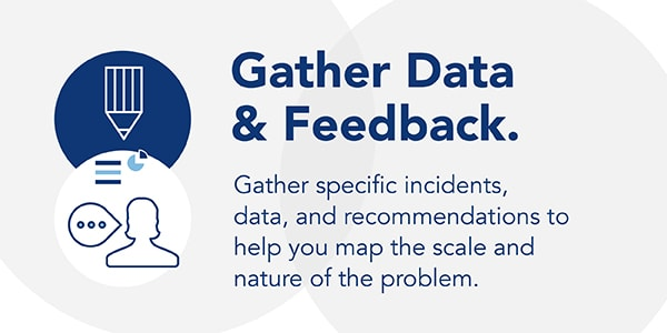 Gather specific data and recommendations to help map the scale and nature of a problem.