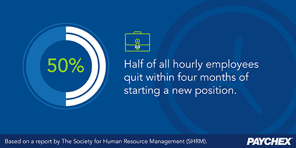 Half of all hourly employees quit within four months