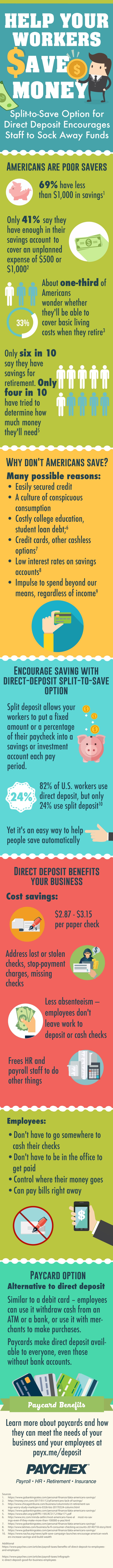 Direct deposit split-to-save option helps employees save more money.