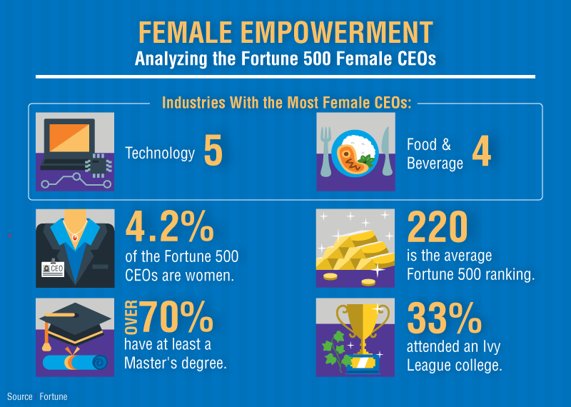 Women Fortune 500 CEOs. Highlighted statistics.