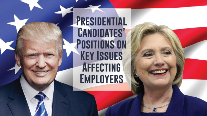 Hillary Clinton and Donald Trump's positions on five key election issues for employers.