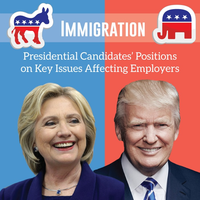 The presidential candidates have opposite views about immigration reform.