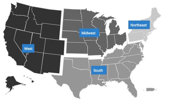 Mapa de cuatro regiones de los Estados Unidos