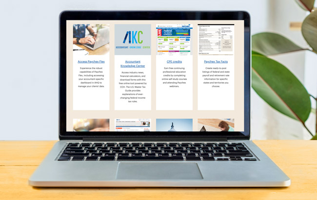 Screen capture of educational resources page for accounting professionals