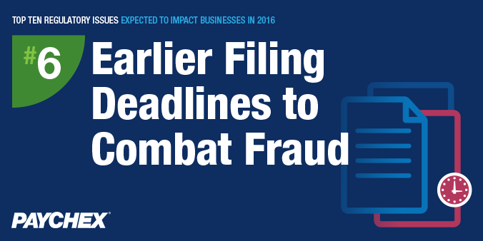 Regulatory issues - Deadlines to combat fraud- Paychex