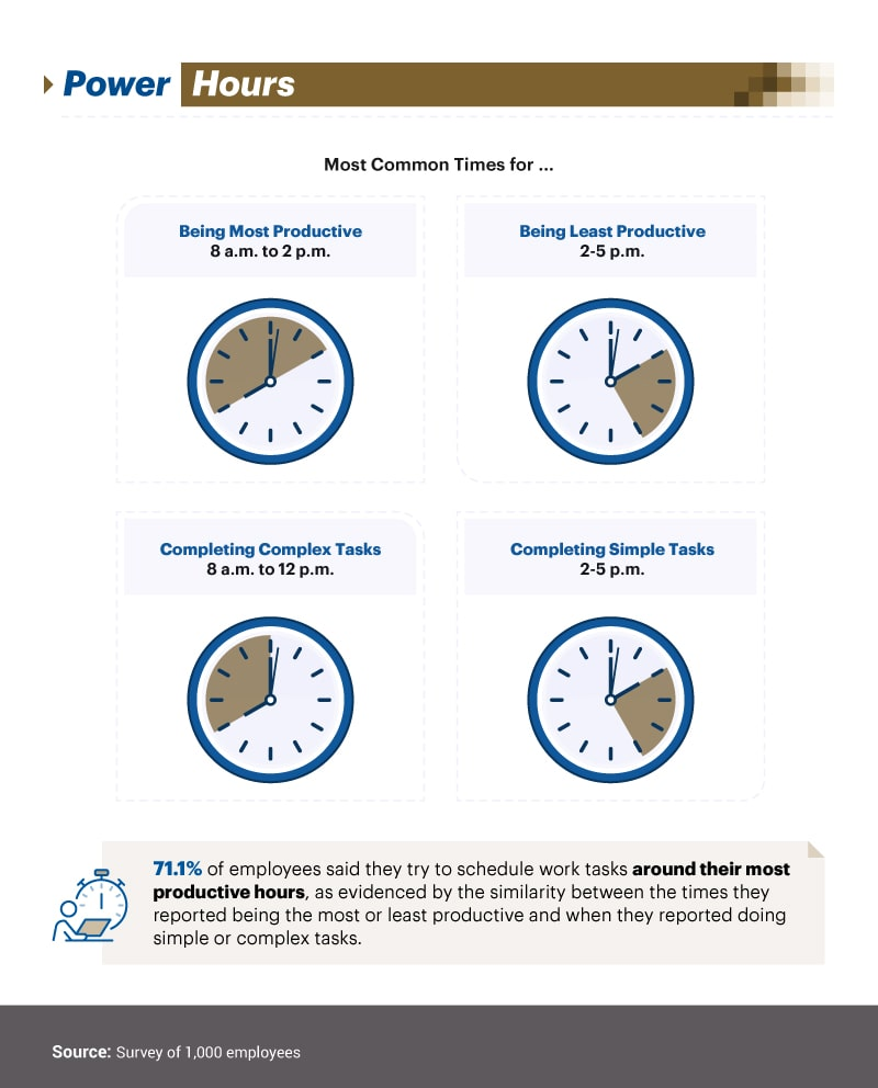 Infographic showing times of different productivity