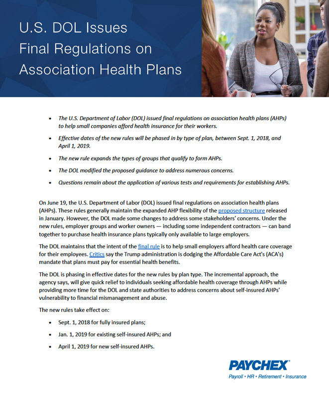 U.S. DOL Issues Final Regulations on Association Health Plans