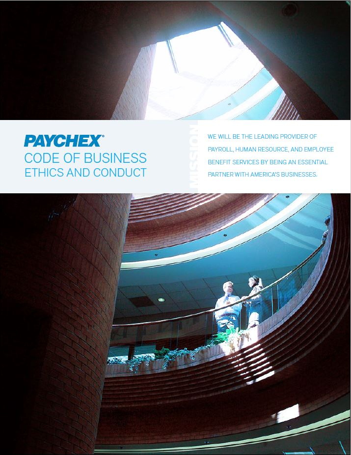 Paychex code of ethics covershot