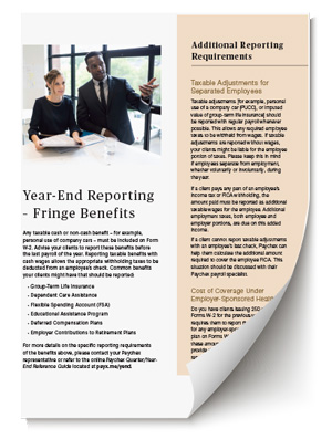 year-end reporting: fringe benefits
