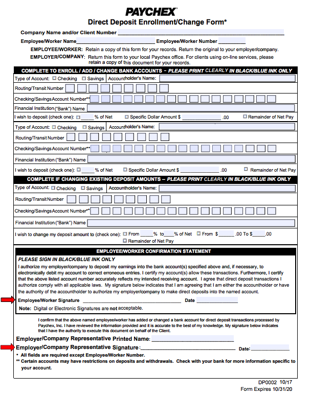 Direct deposit form paychex for Direct deposit forms for employees template