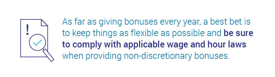 laws around paying bonuses