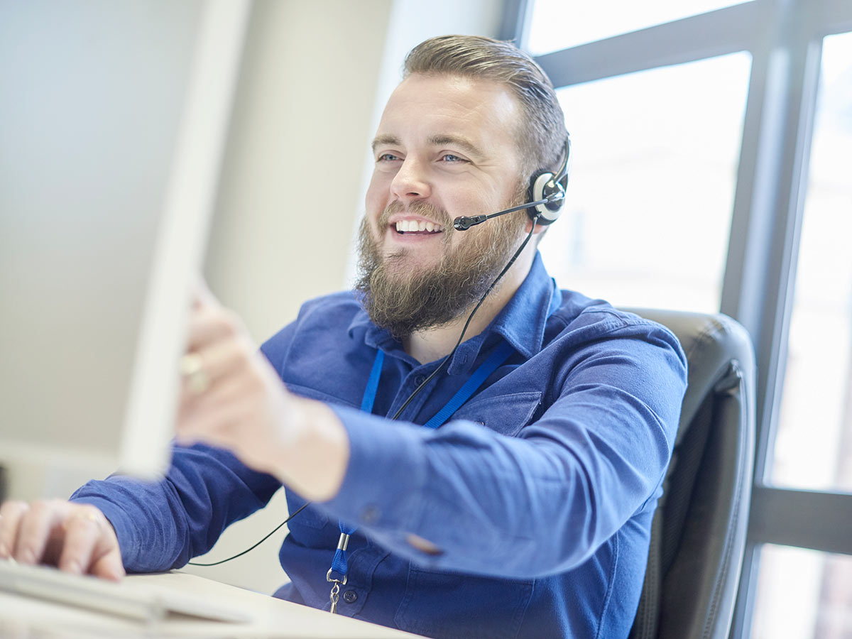 Customer service representative on headset