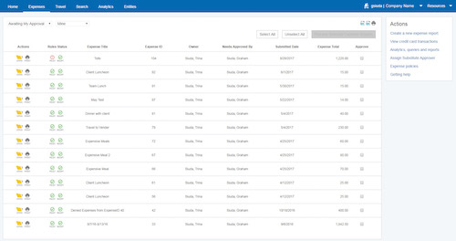 Paychex expense management screenshot
