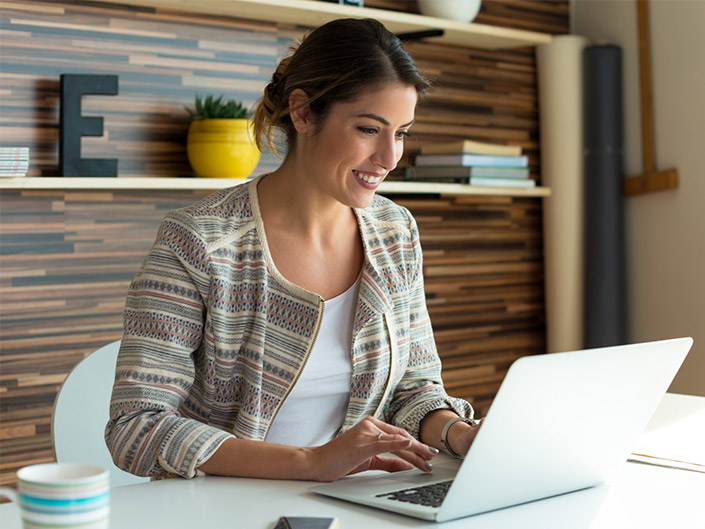 Woman doing accounting online