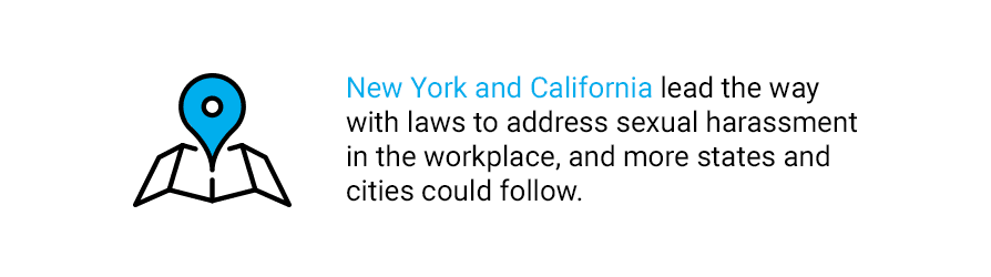 Quote about New York and California and sexual harassment laws in the workplace