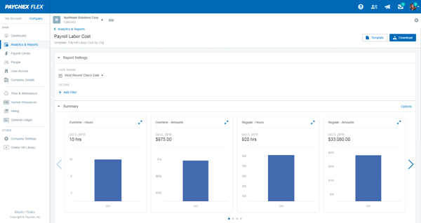 paychex flex screenshot analytics and reporting