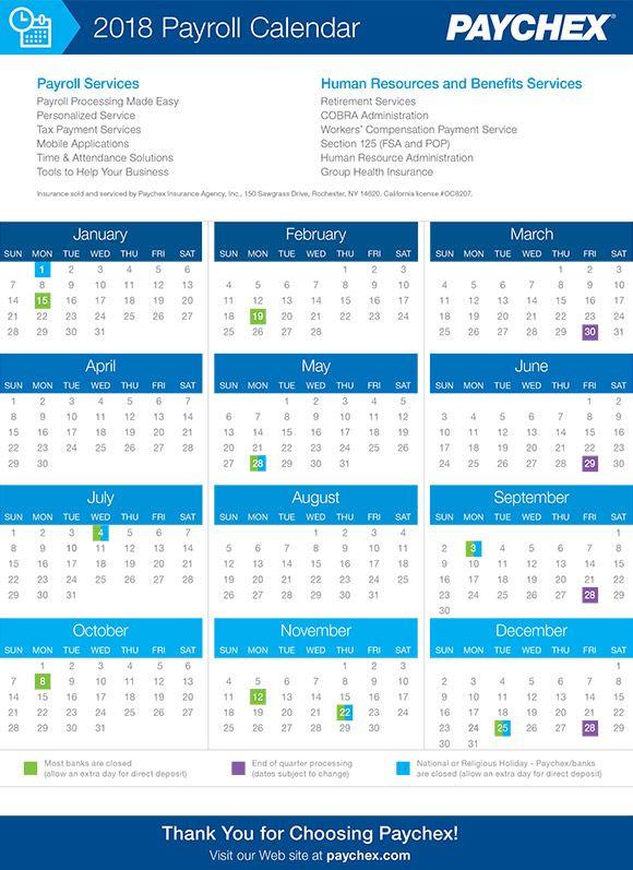 Paychex payroll calendar 2019