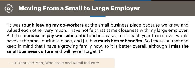 Quote about moving from a small to large employer