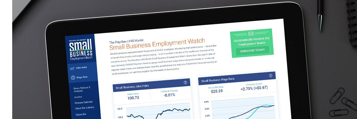 Computer screen showing small business employment watch