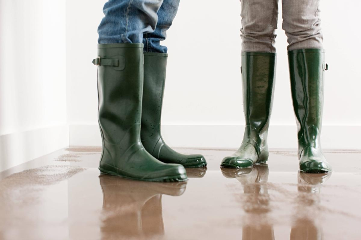 workers with boots in standing water